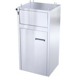 Модуль барный нейтральный для мусорного бака,  520х500х1250мм, без борта, закрытый, 1 дверь распашная, легированная сталь.