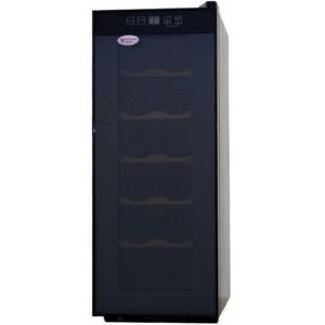Шкаф холодильный для вина,  12бут. (35л), 1 дверь стекло, 5 полок, ножки, +10/+18С, стат.охл., чёрный, термоэлектрический