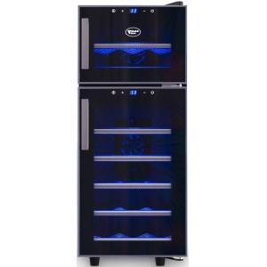 Шкаф холодильный для вина,  21бут. (60л), 2 двери стекло, 7 полок, ножки, +7/+18С и +10/+18С, дин.охл., чёрный, термоэлектрический