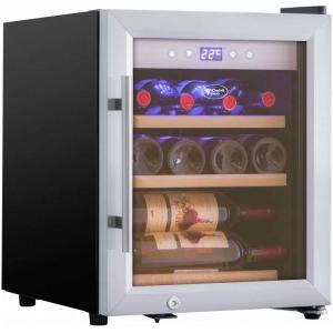 Шкаф холодильный для вина,  12бут. (42л), 1 дверь стекло, 3 полки, ножки, +3/+22С, стат.охл., чёрный, замок