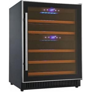 Шкаф холодильный для вина,  40бут. (113л), 1 дверь стекло, 5 полок, ножки, +5/+16С и +9/+20С, стат.охл., чёрный, встраиваемый