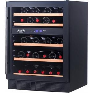 Шкаф холодильный для вина,  44бут. (164л), 1 дверь стекло, 5 полок, ножки, +5/+10С и +10/+18С,дин.охл., чёрный, встраиваемый