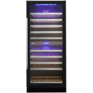 Шкаф холодильный для вина, 110бут. (313л), 1 дверь стекло, 10 полок, ножки, +5/+10С и +10/+18С, стат.охл., чёрный