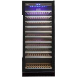 Шкаф холодильный для вина, 121бут. (323л), 1 дверь стекло, 11 полок, ножки, +5/+18С, стат.охл.+вент., чёрный, замок
