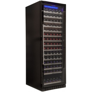 Шкаф холодильный для вина, 165бут. (426л), 1 дверь стекло, 15 полок, ножки, +5/+18С, дин.охл., чёрный, встраиваемый