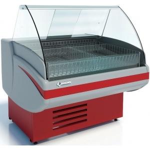 Витрина морозильная напольная, горизонтальная, L1.20м, -15/-18С, стат.охл., спелая вишня (RAL 3004), стекло фронтальное гнутое, корзины