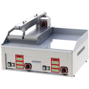 Гриль электрический контактный полуавтомат, 2 зоны 0.31м2, поверхность гладкая+гладкая хром, 1 верх.поверх. (1/2), настольный. Конструкторский дефект!