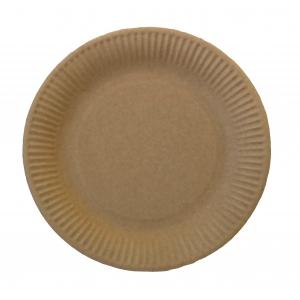 Тарелка 230мм круглая рифленая бумага крафт