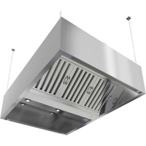 Зонт приточно-вытяжной островной, 1500х1500х400мм, лаб.фильтры, коробчатый, нерж.сталь, подсветка, 2 отверстия