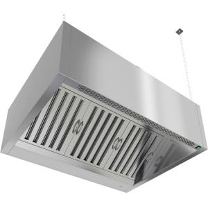 Зонт приточно-вытяжной пристенный,  850х1100х400мм, лаб. фильтры, коробчатый, нерж.сталь, подсветка, отверстие