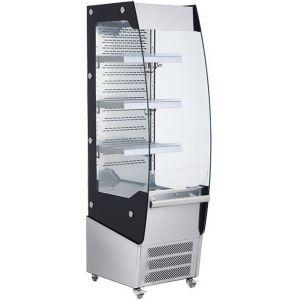 Витрина холодильная напольная, вертикальная, для самообслуживания, L0.50м, 3 полки, +2/+12С, дин.охл., нерж.сталь+чёрная рамка, колеса, подсв.теплая (