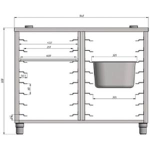 Подставка под пароконвектомат ПКГ6/Г,  960х790х808мм, без борта, открытая, нерж.сталь, 2х8 пар направляющих для EN и GN1/1