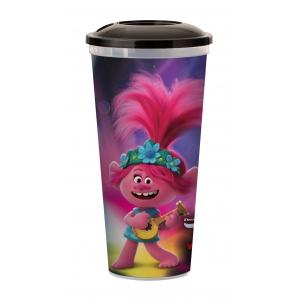 Стакан пласт. д/напитков «Тролли. Мировой тур», 0.5л, крышка/IML plastic cup 0,5 L «Trolls World Tour»