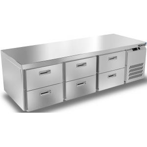 Стол морозильный низкий, GN1/1, L1.84м, без борта, 6 ящиков, ножки, -10/-18С, нерж.сталь, дин.охл., агрегат справа