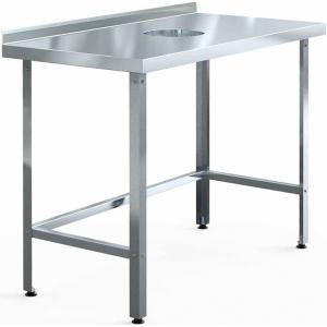 Стол производственный для сбора отходов, 1000х600х850мм, борт, открытый, обвязка с 3-х сторон оцинк, разборный, уголок оцинк., отв.D220мм центр.