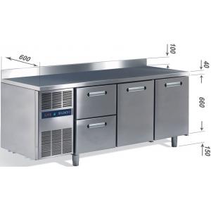 Стол холодильный, L1.72м, борт H100мм, 2 двери глухие, 2 ящика, ножки, 0/+8С, нерж.сталь, дин.охл., агрегат слева