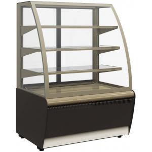 Витрина холодильная напольная, горизонтальная, L1.30м, 3 полки, 0/+7С, дин.охл., коричневая+золото, стекло фронтальное гнутое, подсветка