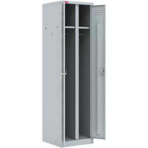 Шкаф для одежды,  500х500х1860мм, 2 секции, 2 двери распашные, 2 полки, 2 перекладины, 4 крючка, 2 замка, краш.металл серый RAL7035, разборный
