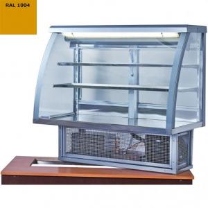 Витрина холодильная встраиваемая, горизонтальная, кондитерская, L1.01м, 2 полки, 0/+8С, стат.охл., золотая, стекло фронтальное гнутое