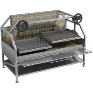 Гриль на углях, 2 решетки, подставка открытая, сталь, 2 штурвала, 1 решетка для отдыха продукта