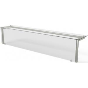 Полка верхняя стеклянная Г-образная, L2.03м, для крепления в столешницу, подсветка, стойки нерж.сталь