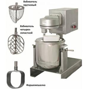 Машина универсальная кухонная напольная: насадка (миксер МВ-25), привод ПМ, подставка П-03, дежа ВМ.03.000-01, 3 насадки, нерж.сталь
