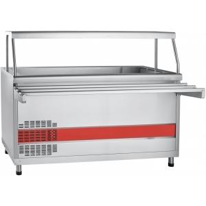 Прилавок холодильный, L1.50м, ванна охлаждаемая +1/+10С, стенд полузакрытый без двери, нерж.сталь, 1 полка сплошная, направляющие (Без оригинальной уп