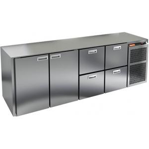 Стол холодильный, GN2/3, L2.40м, без столешницы, 2 двери глухие+4 ящика, ножки низкие, -2/+10С, нерж.сталь, дин.охл., агрегат справа, увелич.объем