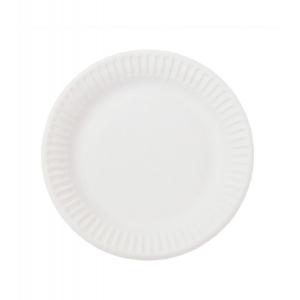 Тарелка 180мм круглая рифленая ламинированная бумага белая