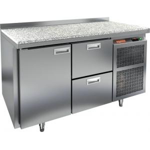 Стол холодильный, GN1/1, L1.39м, борт H50мм, 1 дверь глухая+2 ящика, ножки, -2/+10С, нерж.сталь, дин.охл., агрегат справа, столеш.камень