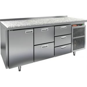 Стол холодильный, GN1/1, L1.84м, борт H50мм, 1 дверь глухая+5 ящиков, ножки, -2/+10С, нерж.сталь, дин.охл., агрегат справа, столеш, камень