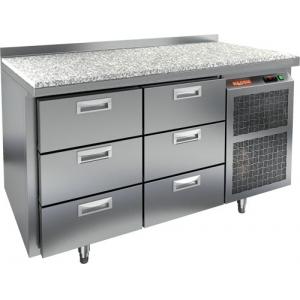 Стол холодильный, GN2/3, L1.39м, борт H50мм, 6 ящиков, ножки, -2/+10С, нерж.сталь, дин.охл., агрегат справа, столеш.камень