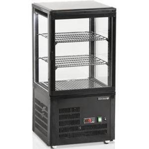 Витрина холодильная настольная, вертикальная, кондитерская, L0.43м, 2 полки, +2/+12С, дин.охл., черная, 4-х стороннее остекление
