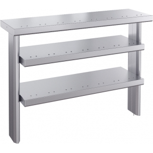 Полка настольная для мармитов и прилавка холодильного линии раздачи Ривьера, L1.12м, 3 уровня сплошных, нерж.сталь, подсветка