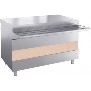 Прилавок нейтральный для горячих напитков, L1.12м, стенд закрытый, нерж.сталь, направляющая, 2 розетки 220V, отверстия под полку