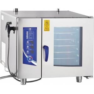 Пароконвектомат электрический инжекторный,  6GN1/1, электронное управление, щуп, реверс, душ, полуавтоматическая мойка
