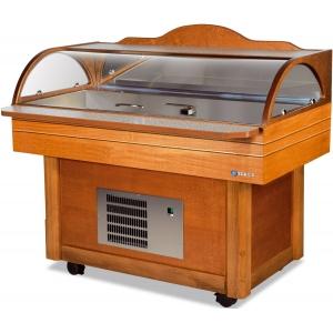 Салат-бар охлаждаемый пристенный, L1.40м, передвижной, крышка стекло, цвет светлый орех, льдогенератор чешуйчатого льда, подкл. к хол.воде, для рыбы