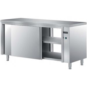 Стол тепловой раздаточный, 1200х700х850мм, без борта, закрытый, двери-купе, нерж.сталь 304, подложка ЛДСП+нерж.сталь, двойная обшивка, сквозной