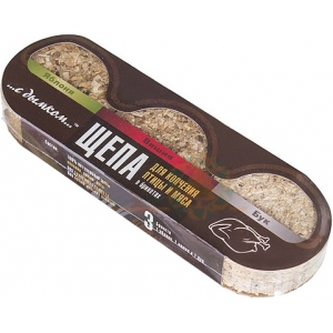 Щепа в брикетах для копчения мяса «...с дымком ...», упаковка (3 брикета - яблоня, бук, вишня)