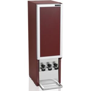 Шкаф-диспенсер холодильный для вина,  3х10л (90л), 1 дверь глухая, ножки, +3/+9С, стат.охл., бордовый, 3 крана