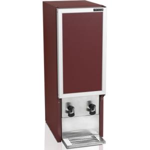 Шкаф-диспенсер холодильный для вина,  2х20л (112л), 1 дверь глухая, ножки, +3/+9С, стат.охл., бордовый, 2 крана
