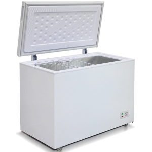 Ларь морозильный, 355л, 1 крышка глухая плоская распашная, -18С, 2 корзины, колеса, белый, стат.охл., R600a