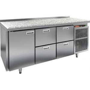 Стол холодильный, GN1/1, L1.84м, борт H50мм, 1 дверь глухая+4 ящика, ножки, -2/+10С, нерж.сталь, дин.охл., агрегат справа, столеш. камень