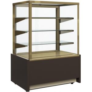 Витрина нейтральная напольная, горизонтальная, L0.92м, 3 полки, коричневая+золото, стекло фронтальное прямое, подсветка