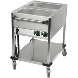 Мармит электрический для вторых блюд, L0.65м, 2GN1/1, нагрев паровой, стенд открытый, 1 полка сплошная, нерж.сталь, колеса