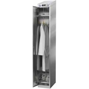 Шкаф тепловой сушильный и дезинфекционный для одежды и обуви,  300х500х2050мм, 1 дверь распашная, 2 полки, перекладина, +50С, УФ лампа, нерж.430