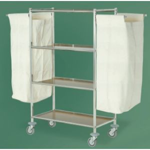 Тележка для уборки помещения, 4 полки ламинированные, каркас нерж.сталь, 2 мешка