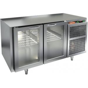 Стол холодильный, GN1/1, L1.39м, без столешницы, 2 двери стекло, ножки, -2/+10С, нерж.сталь, дин.охл., агрегат справа