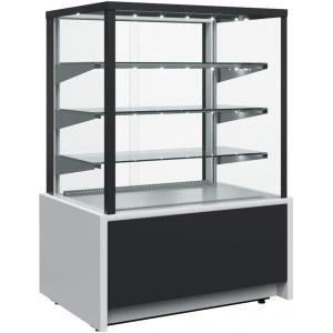 Витрина тепловая напольная, горизонтальная, L0.92м, 3 полки, +65С, черная+сталь, стекло фронтальное прямое, подсветка