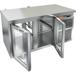 Стол холодильный сквозной, GN1/1, L1.39м, без борта, 4 двери стекло, ножки, +2/+10С, нерж.сталь, дин.охл., агрегат справа